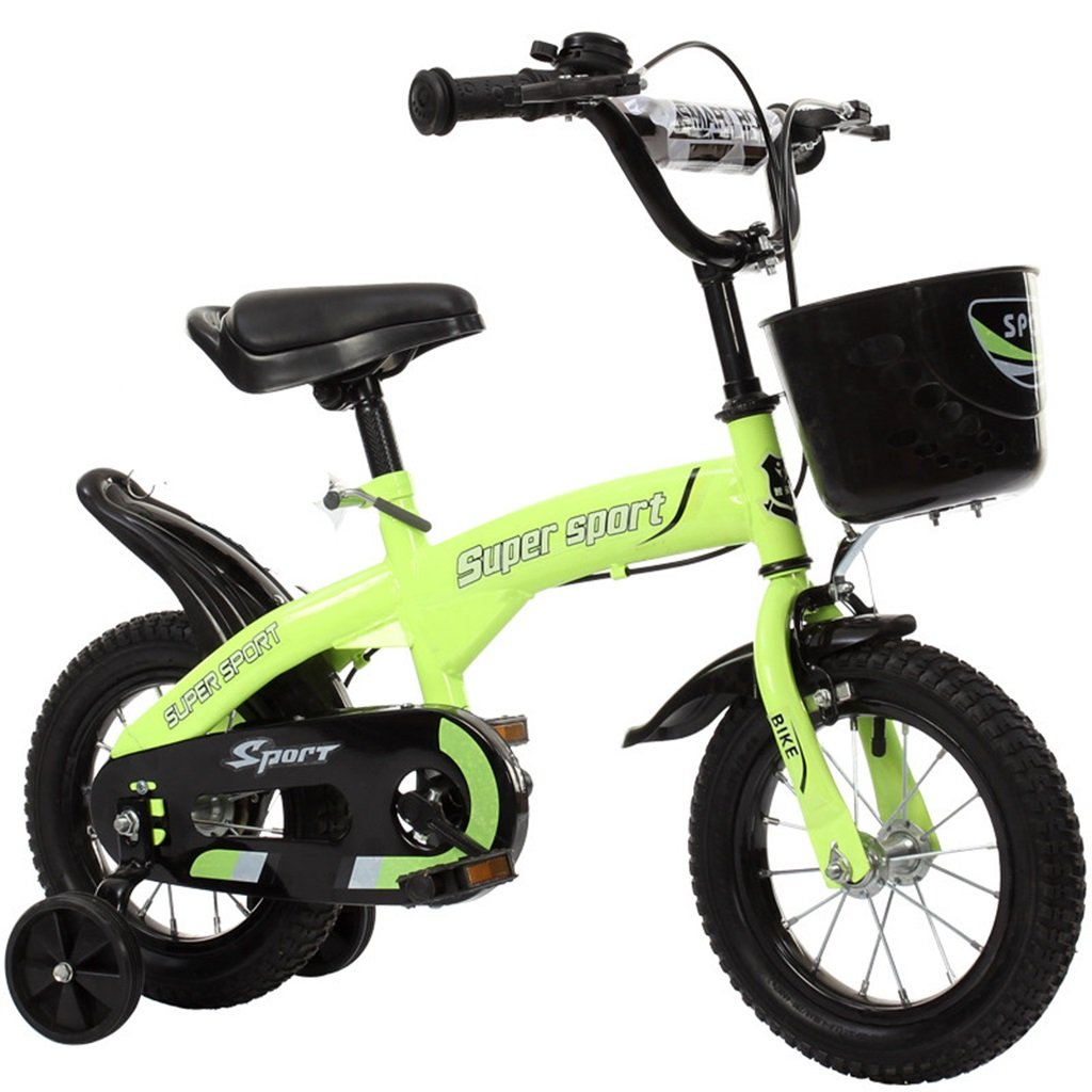 QFF 子供用自転車、グリーンオプションのフラッシュアシストホイールリアシートケトル高炭素鋼ボディ丈夫で安全な子供用に設計された2-10 88-121CM ZRJ B07DNY5B3F 115CM A A 115CM