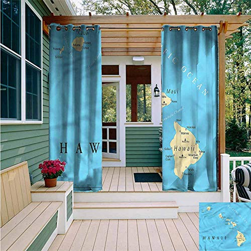 Beihai1Sun Outdoor Grommet Top Curtain Panel,Hawaiian Honolulu The Captal City,for Patio/Front Porch,W84x108L
