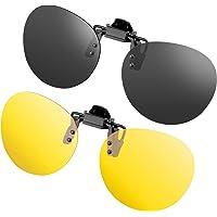 Gafas de sol con clip, unisex, polarizadas, sin montura, lentes rectangulares, con clip de apertura hacia arriba se…