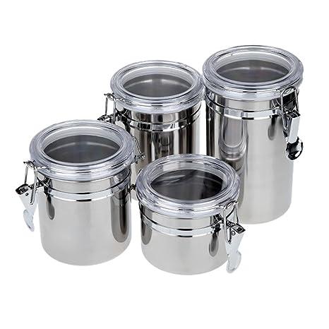 Anself 4pcs Bote de Acero inoxidable latas ollas tarros para Almacenamiento con cubiertas