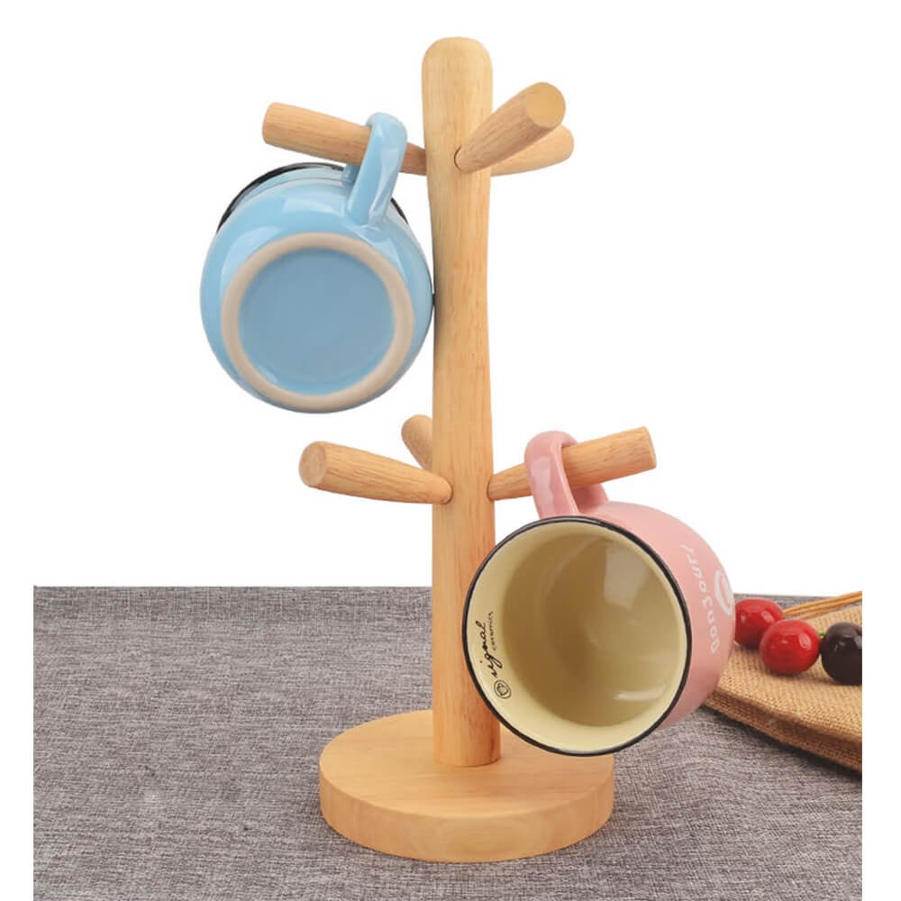 Jumiz Natural Beech Wood Tree Shape Rack Holder Organizer for 6 Coffee Mugs, Tea Cups, with Sturdy Stand, Desktop Tabletop Countertop Display in Kitchen Living Room Dining Room, Easy Assemble by Jumiz (Image #5)