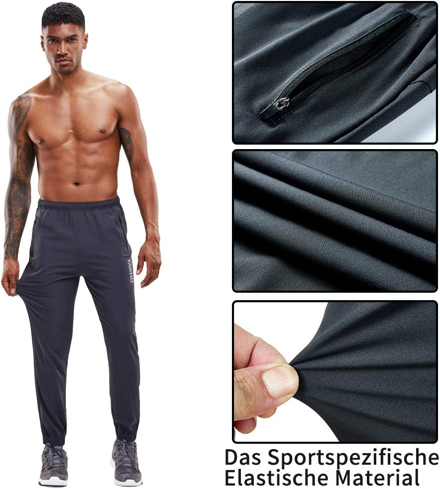 YAWHO Herren Jogginghose Trainingshose Sporthose Sweathose Fitnesshose Freizeithose Lang mit Reissverschluss Taschen und Kordelzug