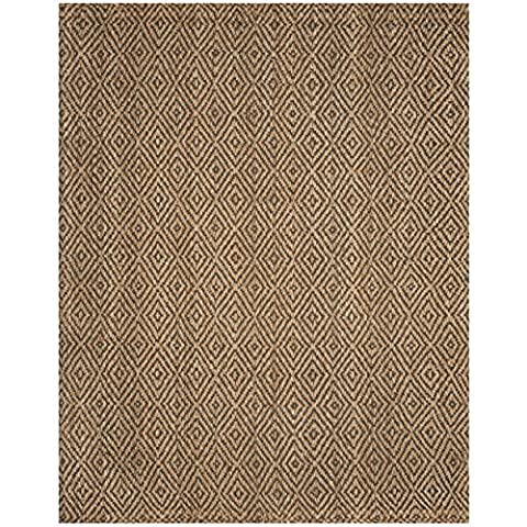 Safavieh Natural Fiber Collection NF181D Hand Woven Natural and Grey Jute Area Rug (6' x 9') (Area Rugs Natural Fiber)