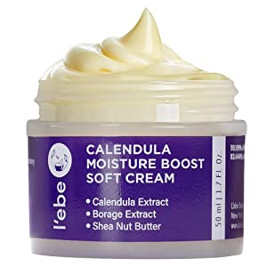 Deep Hydrating Face Moisturizer with Calendula & Borage - For Dry & Sensitive Skin | Anti-Aging Face Cream to Reduce Wrinkles & Soothe Redness | Vegan, Organic & Natural Ingredient | 1.7oz By L'ebe