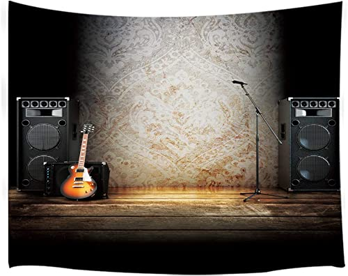 NYMB Music Tapestry Wall Hanging, Vintage Guitar on Wood Stage Wall Tapestry Art for Home Decorations Dorm Decor Living Room Bedroom Bedspread Guitar, 80 X 60
