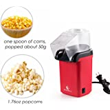 E EVERKING Popcorn Maker, Popcorn Machine, 1200W Power Hot Air Popcorn Popper No Oil Needed, With Wide Mouth Design, Includes Measuring Cup and Removable Lid, FDA Approved and BPA-Free