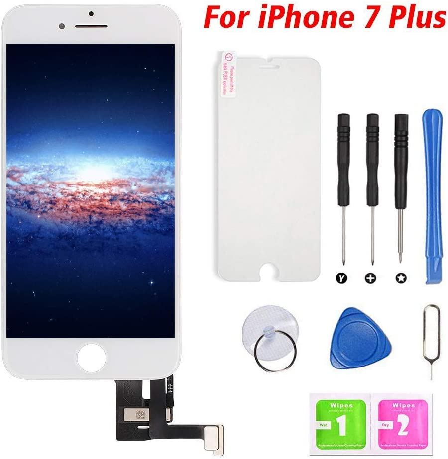 "Screen Replacement for iPhone 7 Plus White 5.5"" Touch Screen LCD Digitizer Display Replacement Frame Assembly Set with Repair Tools (iPhone 7 Plus, White)"