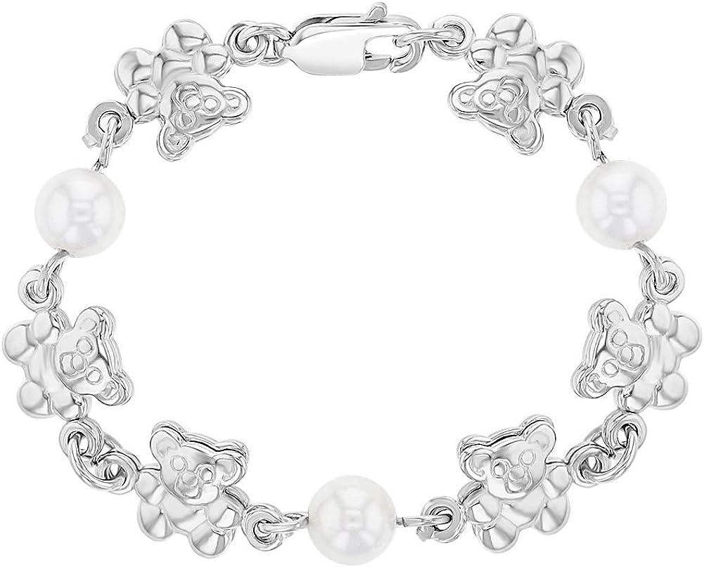 Pulsera de plata de ley 925, diseño de oso de peluche, color blanco y perlas de imitación, 4,5 pulgadas