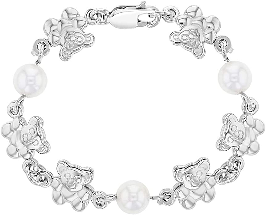 In Season Jewelry 18k Gold Plated ID Tag White Simulated Pearl Bracelet for Girls 5