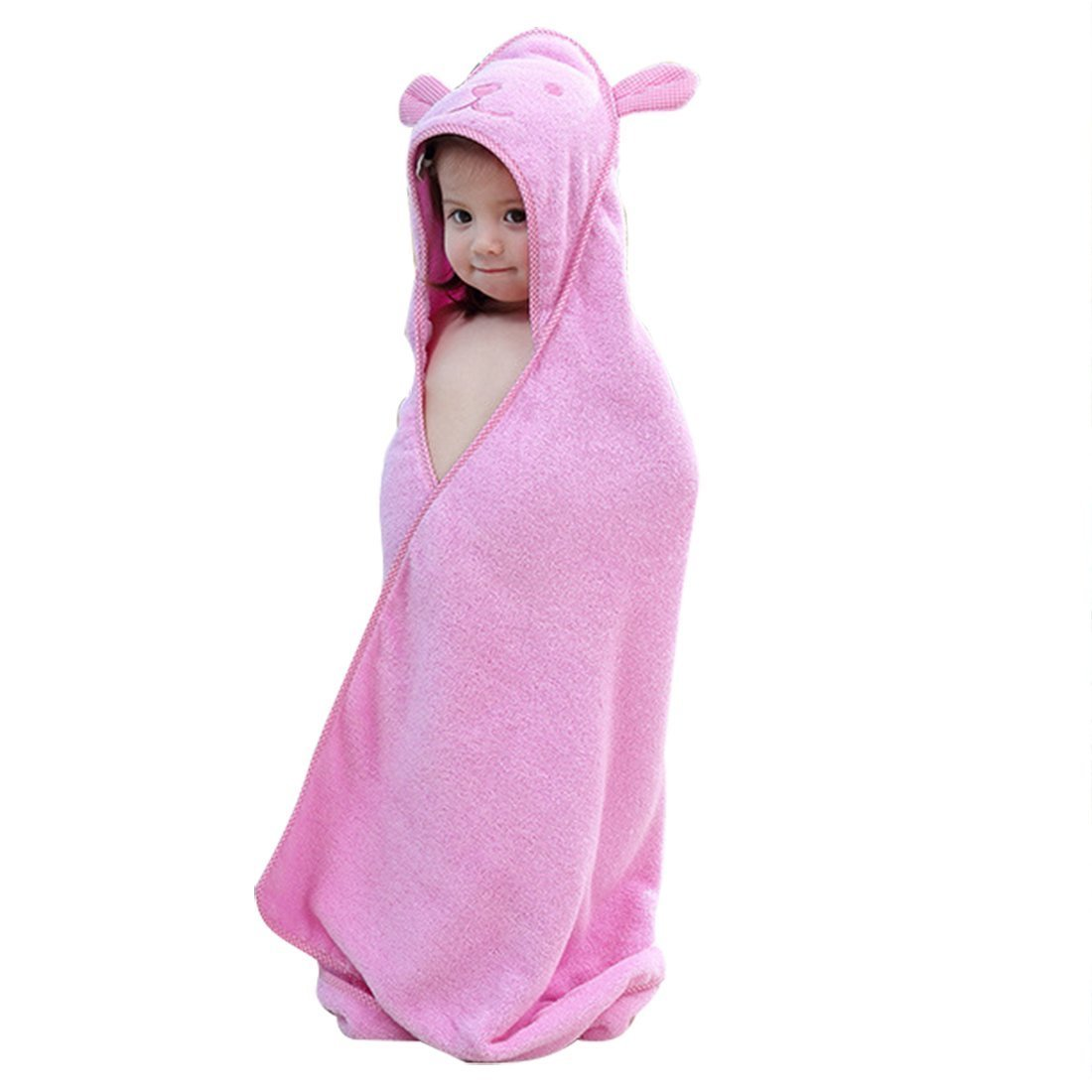 Baby Hooded Towel with Bear Ear- Soft and Thick 100% Cotton Bath Set for Girls, Boys, Infant ad Toddler, Good Choice for Baby Shower Gift … (Pink)