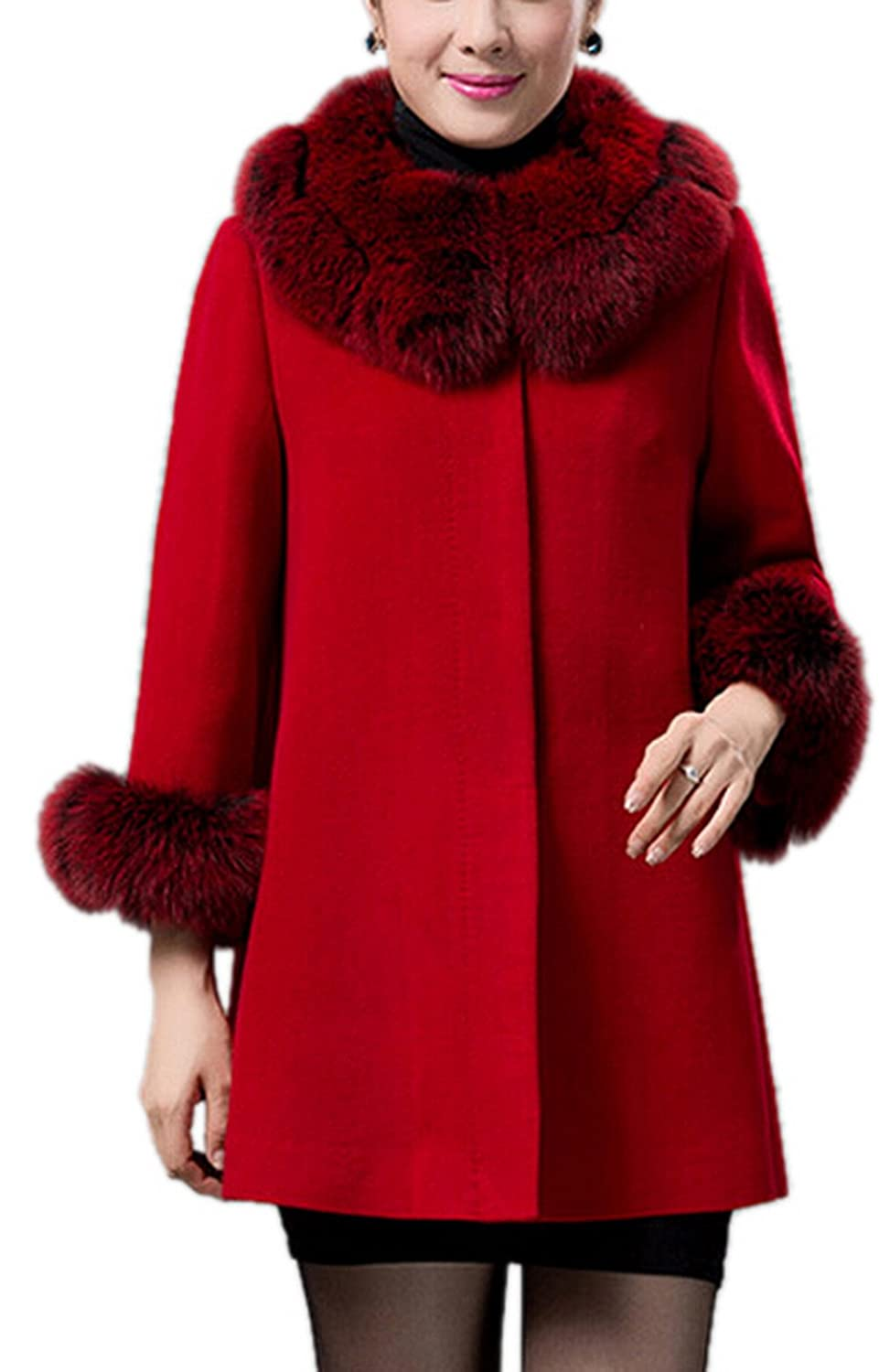 Women's Winter Wool-Blend Outerwear Coat with Faux-Fur Collar Navy/Red