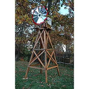 outdoor water solutions byw0136 10 feet wood backyard windmill - Decorative Windmills