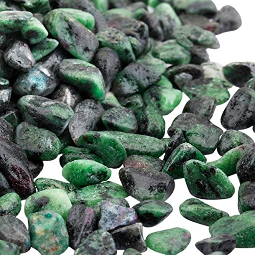 (TUMBEELLUWA 1LB Chips Tumbled Stones Crushed Reiki Irregular Shaped Healing Crystal Quartz Decoration,Ruby in Fuchsite)