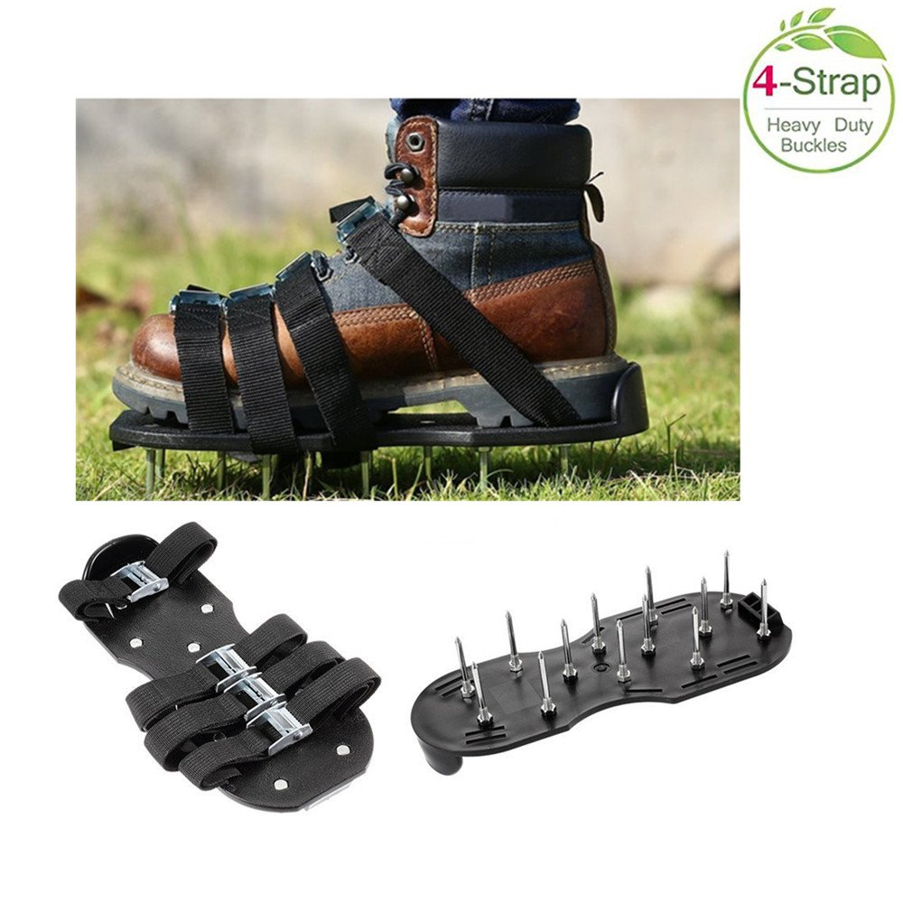 Dreamsoule Lawn Aerator Shoes - Heavy Duty Spiked Sandals with Aluminum Metal Buckles,4 Adjustable Durable Straps | Sturdy Universal Size for Aerating Your Lawn Yard or Garden