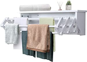 Tangkula Wall Mount Drying Rack Bathroom Home Expandable Towel Rack Drying Laudry Hanger Clothes Rack (Wood)