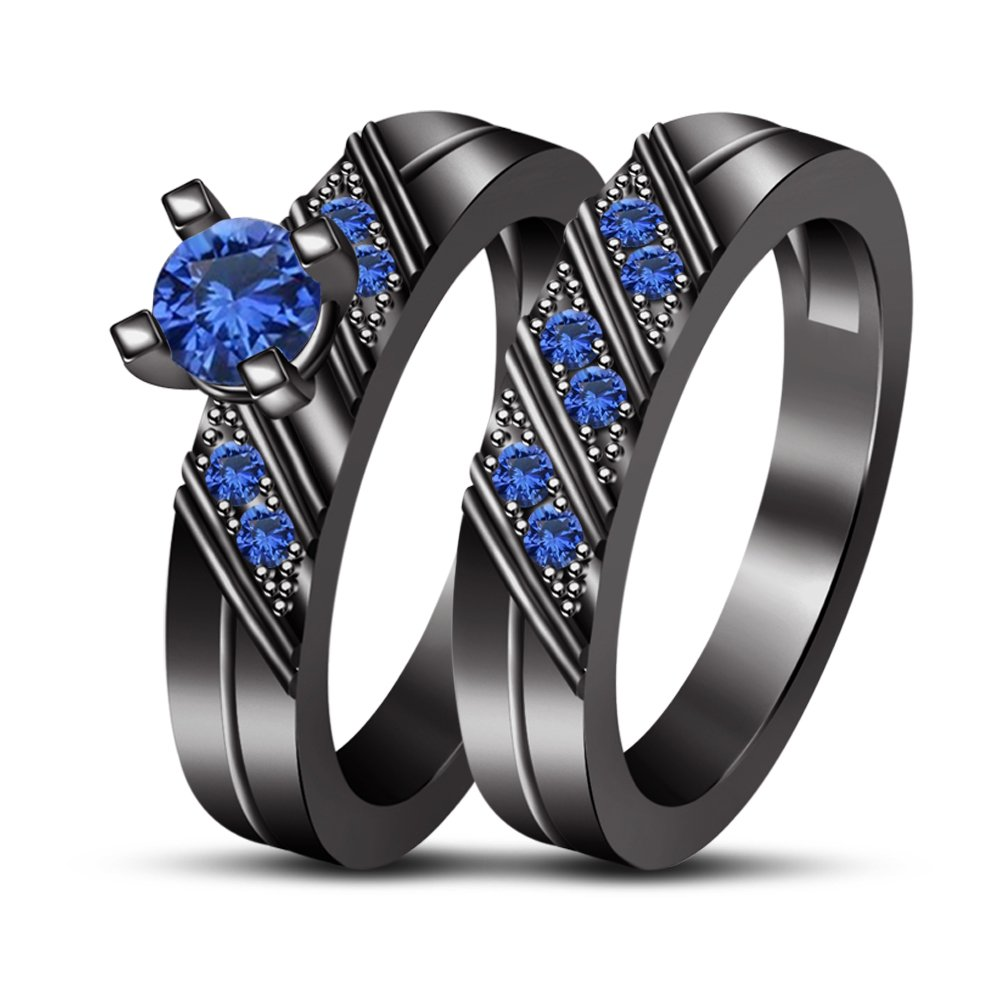 TVS-Jewels Comfort Fit Solid Gift Pure 925 Silver Black Rhodium Plated Wedding Bridal Ring Set for Women rg8757_a (2)