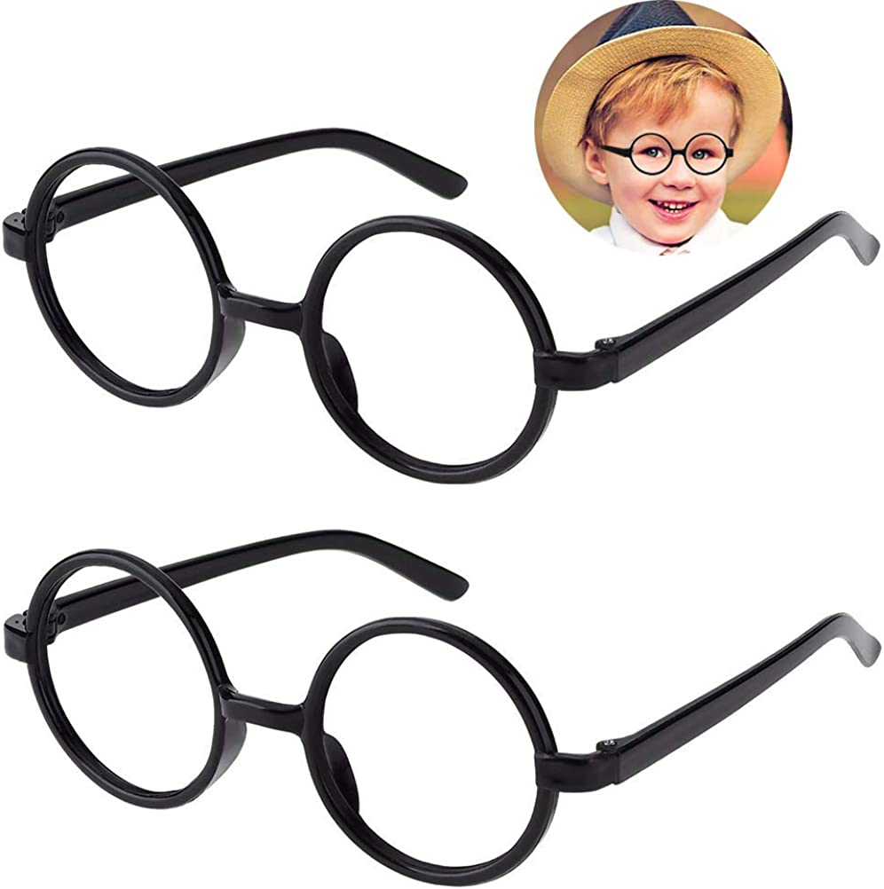 Kids Wizard Glasses Retro Round Glasses Frame No Lenses for Christmas Costume Party Cosplay Supplies for Age 4-12