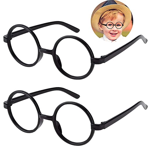6178eb80f0f Amazon.com  Kids Wizard Glasses Retro Round Glasses Frame No Lenses for Christmas  Costume Party Cosplay Supplies for Age 4-12 Black  Clothing