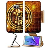Luxlady Premium Samsung Galaxy Note 5 Flip Pu Leather Wallet Case Note5 IMAGE ID 27545049 golden bitcoin symbol digital abstract background