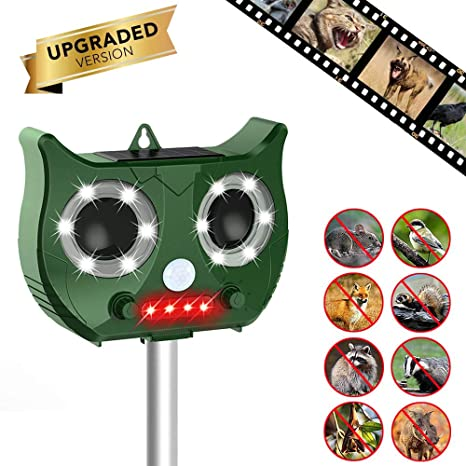 ONEVER Ultrasonic Animal Repeller, Upgrade Outdoor Solar Powered Waterproof Outdoor Garden Pest Repeller with Motion Sensor Flashing LED Light Audible ...