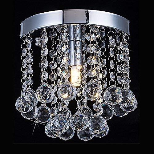 - Floodoor Mini Crystal Chandelier Lighting, 1 Light Rain Drop Flush Mount Ceiling Lights, Modern Pendant Lamp Hallway, Dining Room, Bar, Bedroom, W5.9 X H7.08