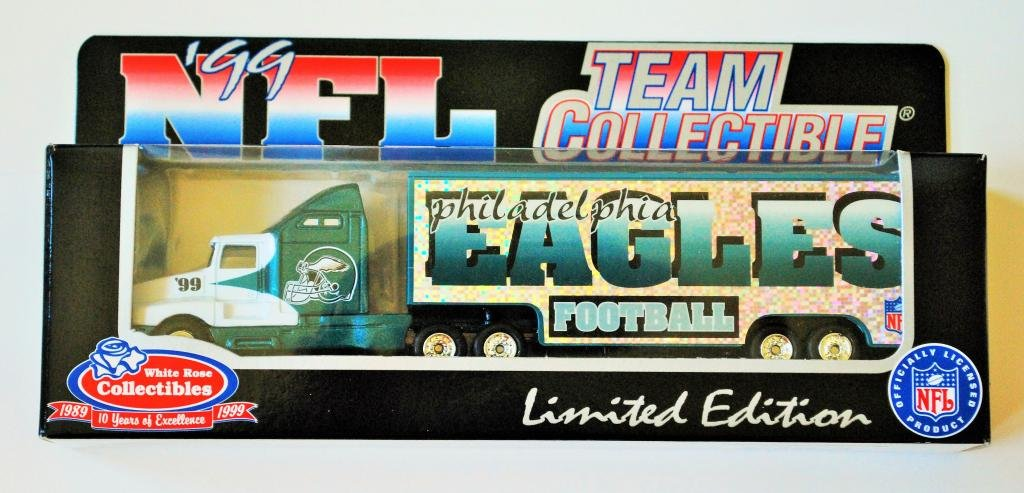 Philadelphia Eagles 1999 NFL White Rose Diecast Kenworth Tractor Trailer 1/87 Scale Collectible Truck