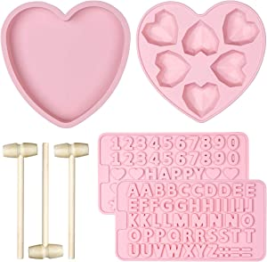 Silicone Heart Cake Mold Trays ,6 Cavities Love Shaped Candy Chocolate Mold Pan 2 Pieces Letter and Number Shaped Molds and Wooden Hammers DIY Baking Tools for Wedding Birthday Valentines Party