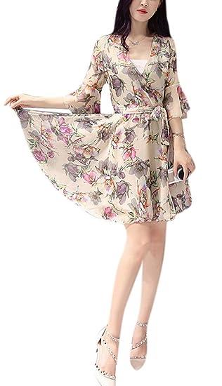 1d8d1a0a0c6a Youtobin Women's V Neck Bell Sleeve Floral Print Mini Chiffon Dress M Multi