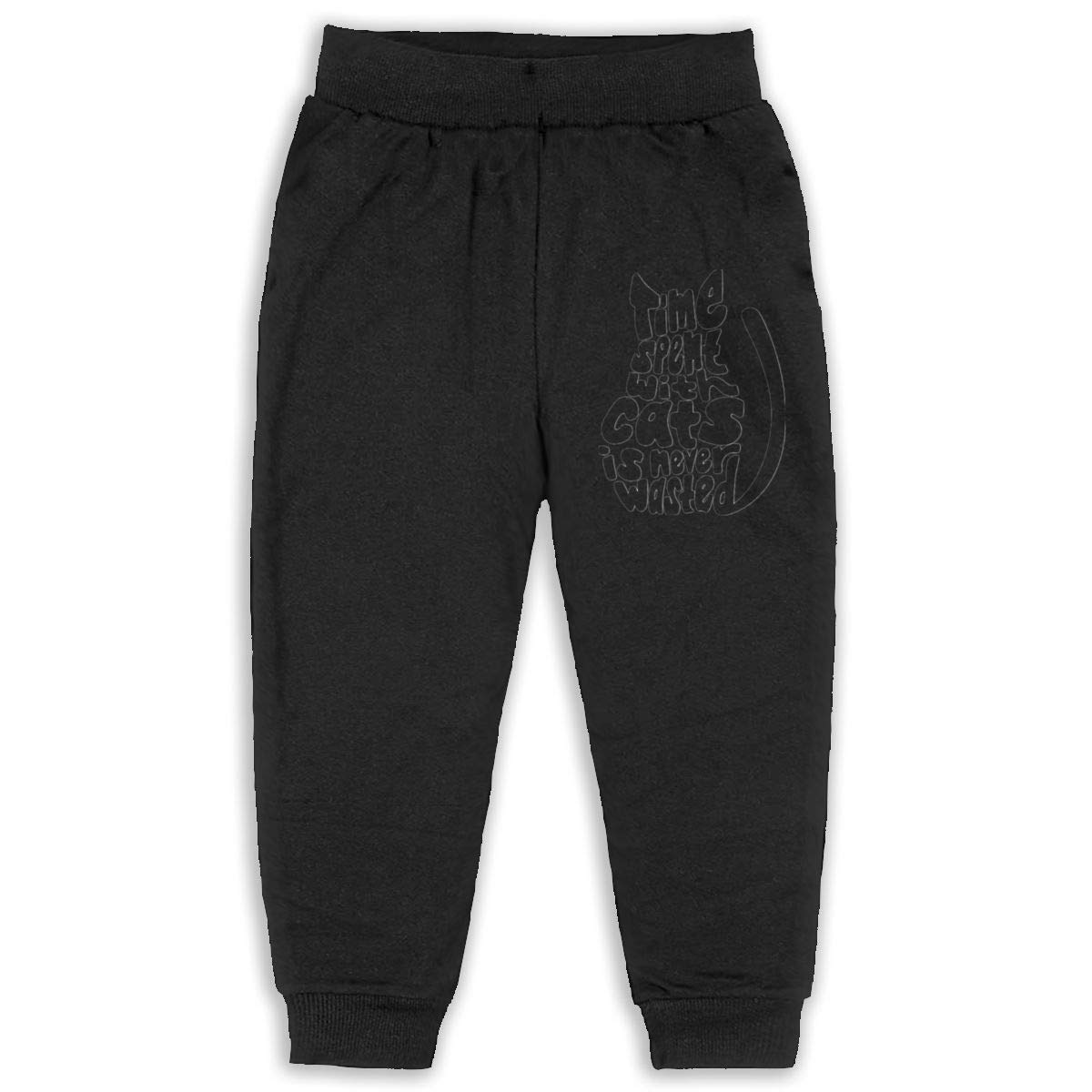 Time Spent with Cats is Never Wasted Children Cartoon Cotton Sweatpants Sport Jogger Elastic Pants