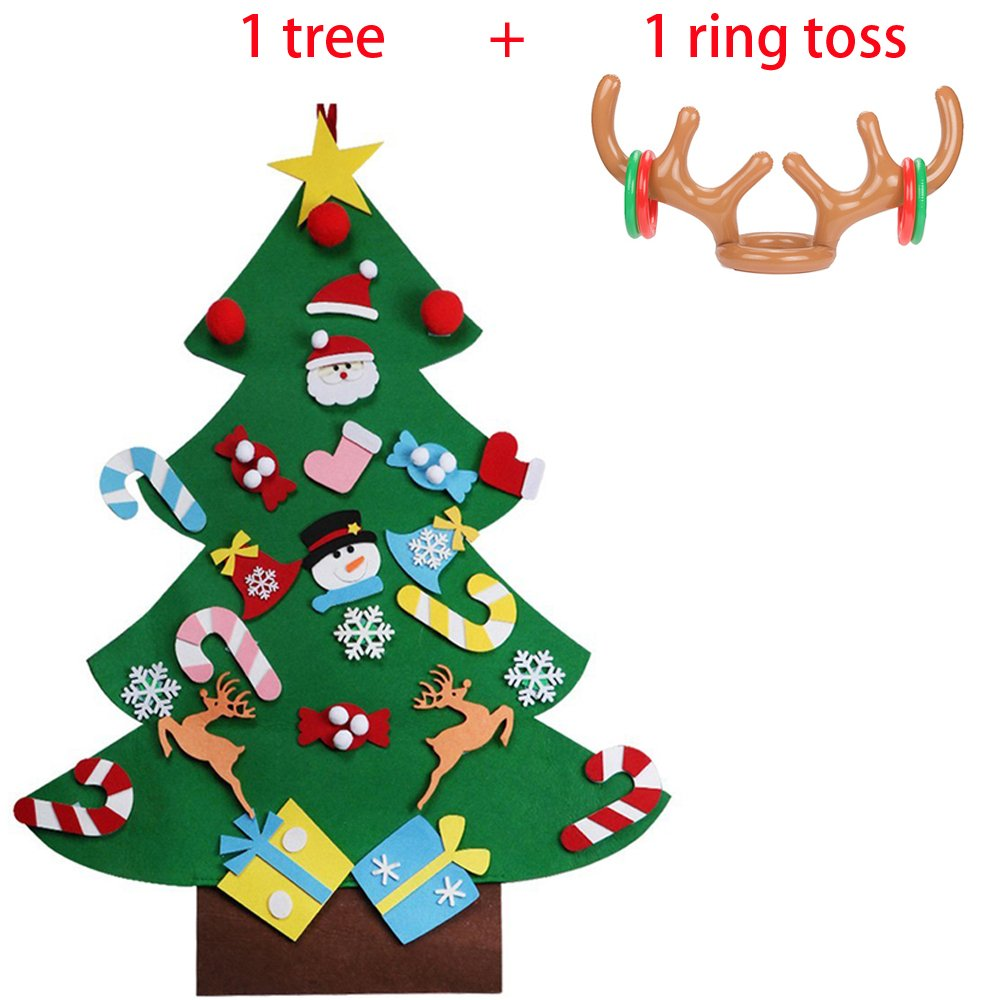 MISS FANTASY Felt Christmas Tree for Kids with 1PC Reindeer Antler Ring Toss Xmas Gift for Toddlers New Year Wall Hanging Decorations Christmas Party Game