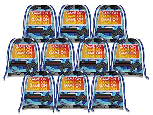Video Gaming Game On Drawstring Bags Kids Birthday Party Supplies Favor Bags 10 Pack