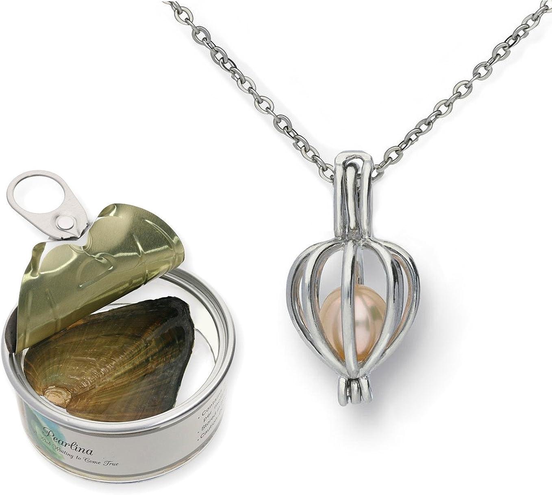 CoolRings - Collar con colgante en forma de corazón chapado en rodio y perla natural cultivada en agua dulce, con cadena de acero inoxidable