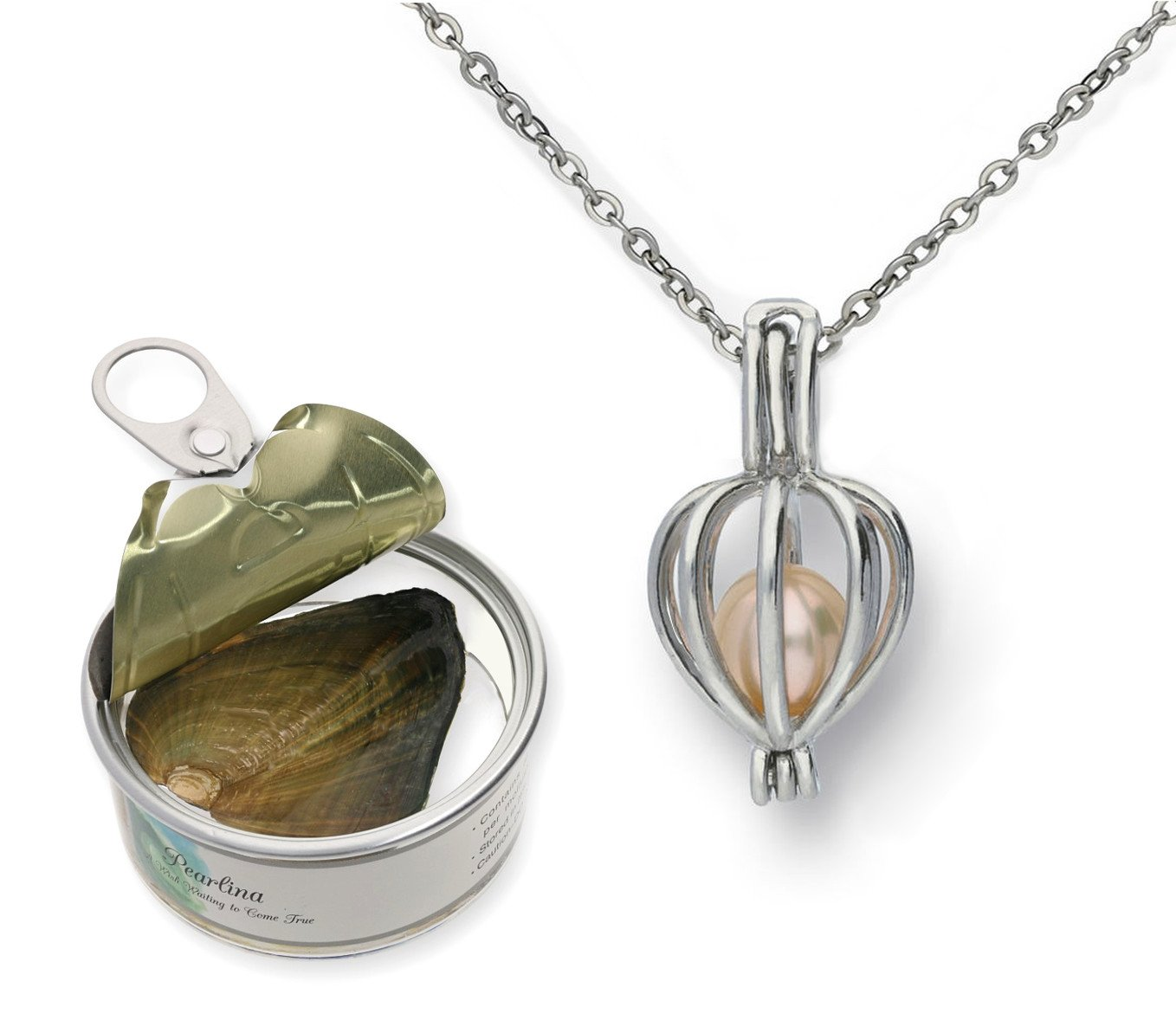 Pearlina Heart Cultured Wish Pearl in Oyster Necklace Set Silver tone Plated Cage W/Stainless Steel Chain 18''
