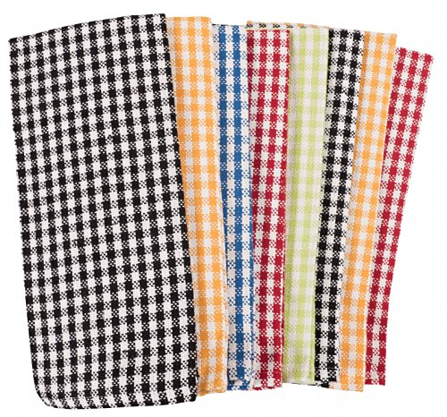 KAF Home Gingham Check Kitchen Towels | Set of 8, 100% Pure Cotton, 16