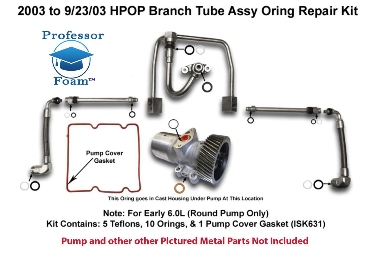 2003 to 9/23/03 Powerstroke Diesel HPOP High Pressure Oil Branch Tube Seal Kit O-Ring