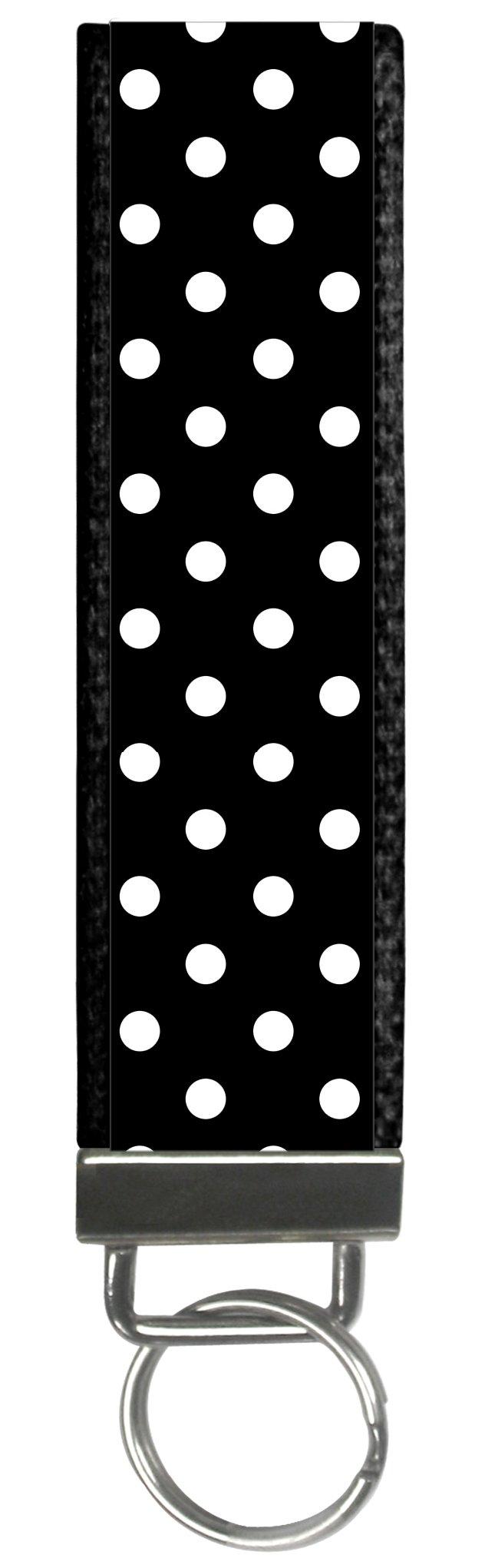Trendy Polka Dot Tiny Dots Design Black Design Wristlet Keyfob Keychain One Size