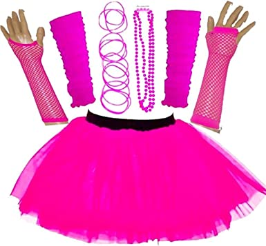 CHEAP 80/'s Weekend Hen Do Night OUT Costume NEON TUTU Skirt OR Bow UK PLUS SIZES