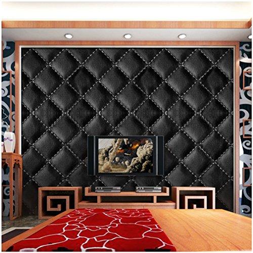 Decorative Tile Borders - VANCORE 3D Faux Leather Sticker Wall Floor Stickers Peel and Stick Border Vinyl Tile Decorative TV Background 15.7x118 Roll