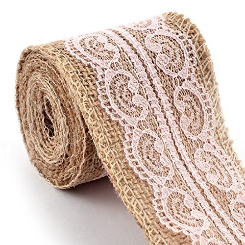 DealMux Burlap Gift Tags Wedding Belt Strap String Crafting Lace Ribbon Roll 2.4 x 2.2 Yards Light Pink