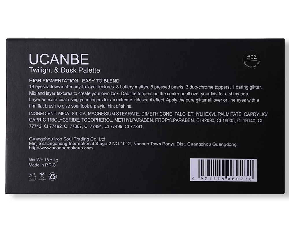 UCANBE Professional 18 Pigmented Eye shadow, 10 Matte + 8 Shimmer, Velvet Texture Blendable Long Lasting Eyeshadow Palette by UCANBE (Image #7)