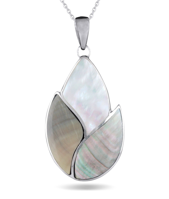 cadeau noel femme-Créateur de bijoux artisanal-bijou fait main-Pendentif -nacre blanche et grise- Argent massif-forme amande- argent massif-femme-Homme