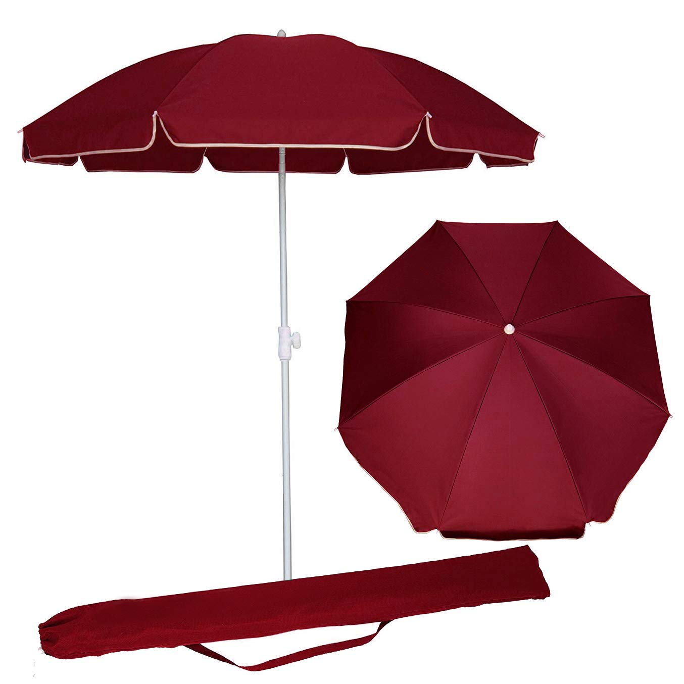 AMMSUN 6.5 ft Portable Outdoor Picnic Patio Beach Umbrella Sun Protection with Tilt for Outdoor Patio,Sport,Pool,Garden, Beach Red