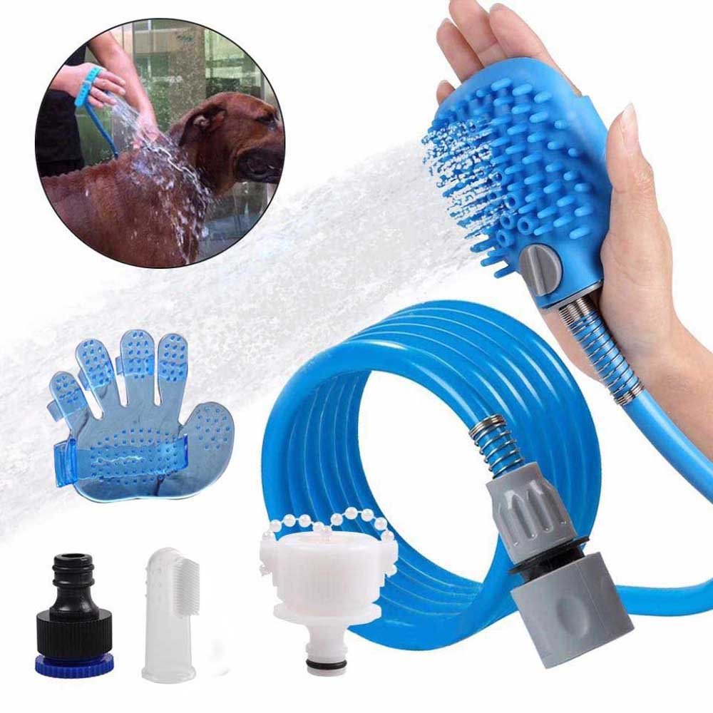 Lumiery Pet Shower kit Pet Bath Brush Tool Silicone Cat Hose Grooming Tool with Free Finger Toothbrush and 1 More Brush