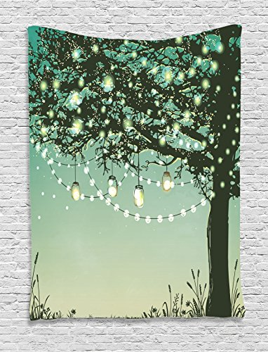 Hanging Sanctuary Lamp (Ambesonne Magic Home Decor Collection, Lanterns and Lamps Hanging on A Tree Branch Decorative Backyard Party Illustration, Bedroom Living Room Dorm Wall Hanging Tapestry, Green Yellow)