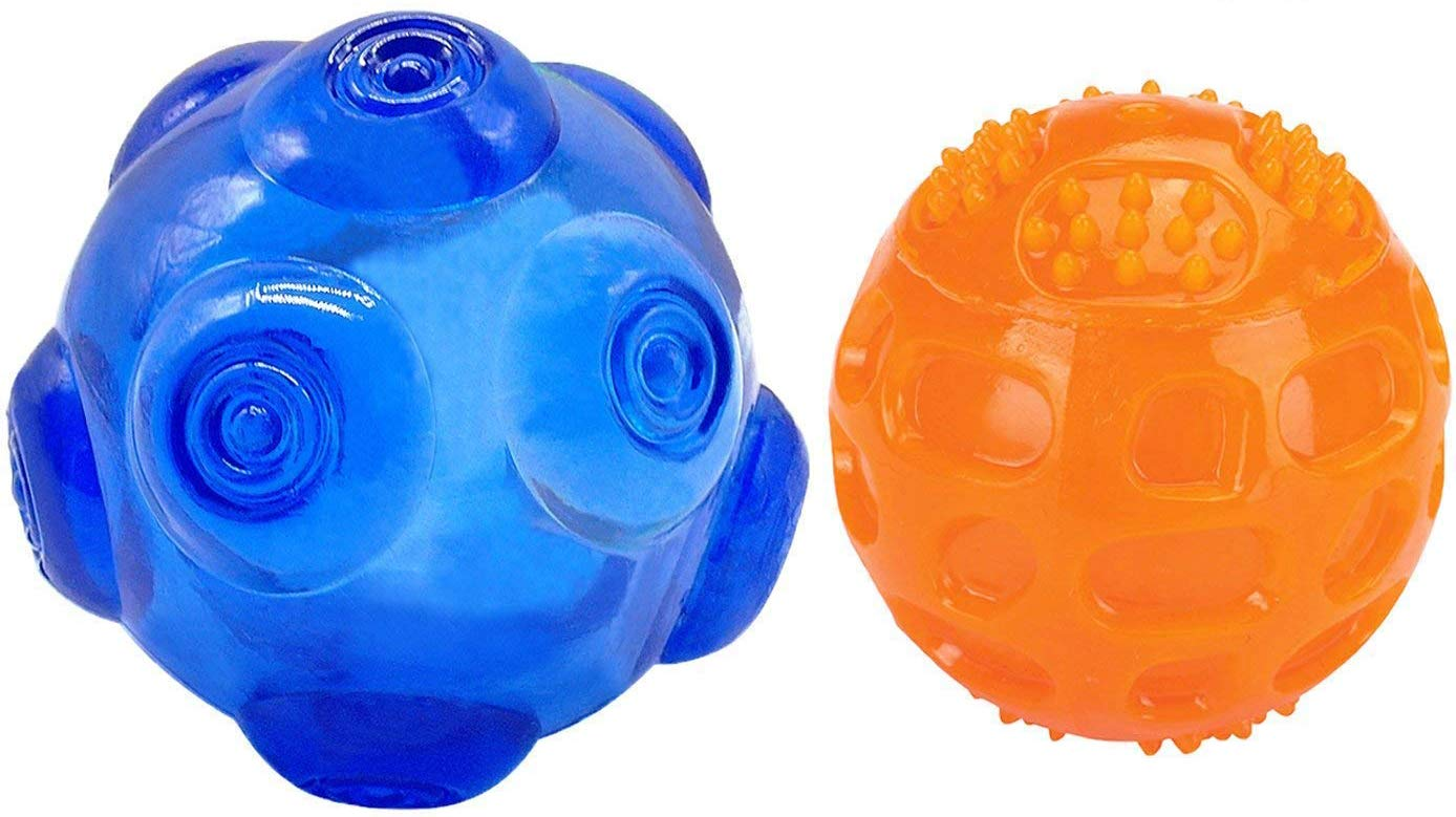 Squeaky Fetch Toy Ball,Unicool Durable Soft Non-Toxic Nature Rubber Squeeze Hollow Ball for Aggressive Chewers Cleaning Teeth - Blue / Orange Colors for Medium Large Dog (2 Pack) (set 2)