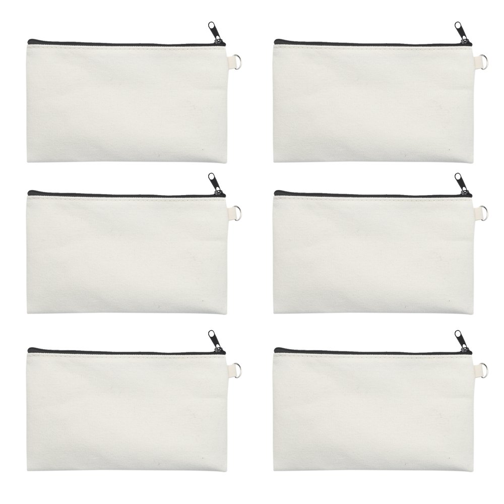 """Aspire 6-Pack Canvas Pouches for DIY Project 7 3/4"""" x 4 1/2"""" Natural Makeup Bags with Black Zip"""