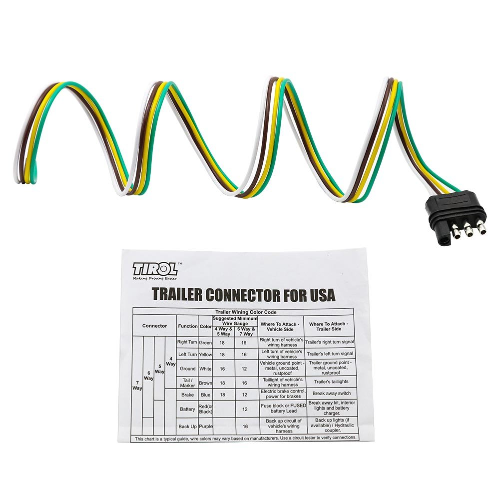 Tirol 4 Way Flat Trailer Wire Harness Extension Connector Plug With 36 Inch Cable Length End