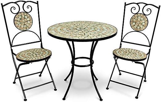 Deuba Conjunto de muebles de jardín Mosaico BILBAO set de mesa y sillas plegables terraza patio metal diseño moderno: Amazon.es: Jardín