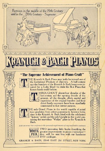 1910 Ad Kranich & Bach Pianos Musical Instrument Player - Original Print Ad from PeriodPaper LLC-Collectible Original Print Archive