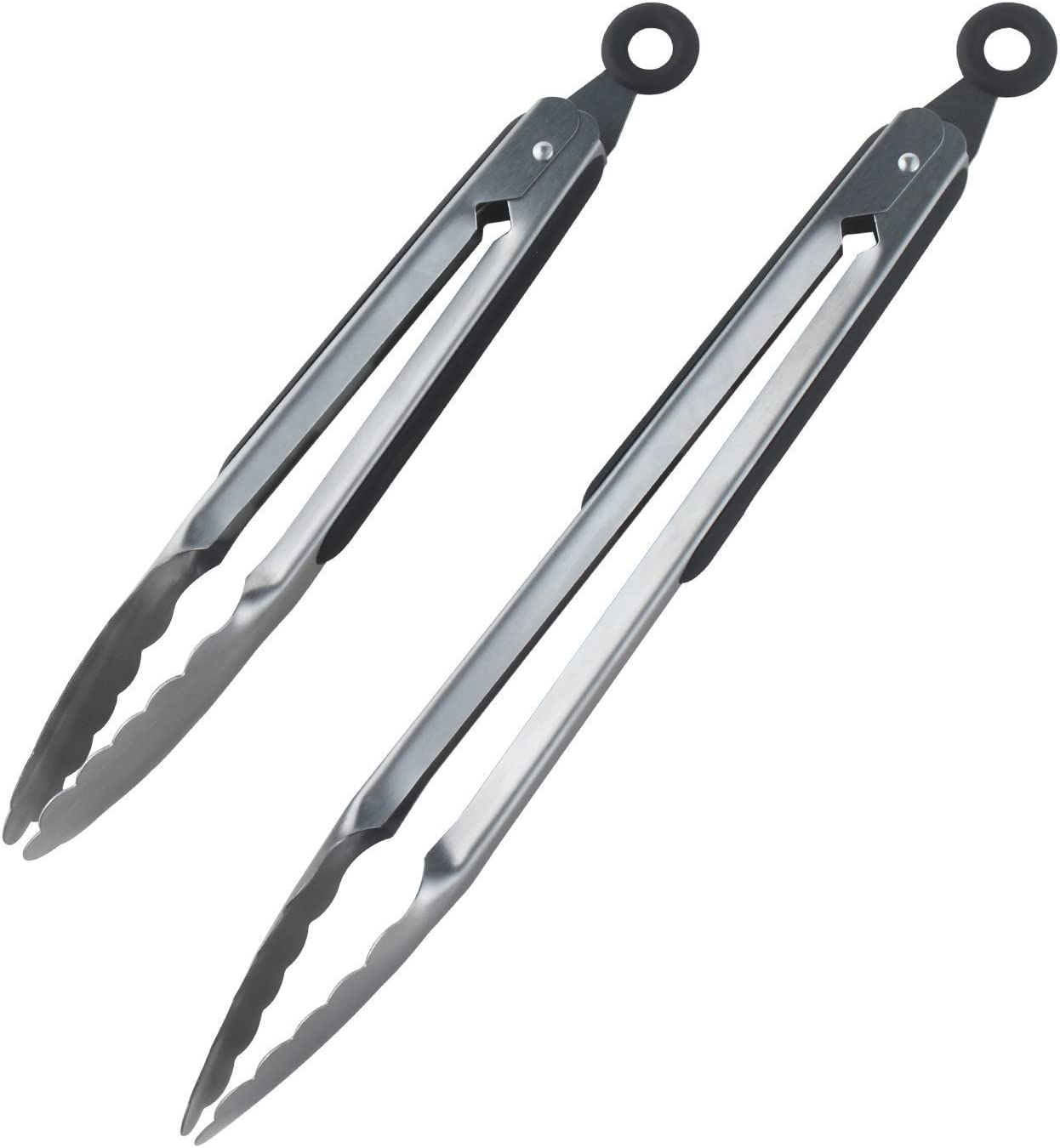 Stainless-steel Locking Kitchen Tongs,Tongji 9,and 12 Inch Premium Sturdy Grips,Set of 2